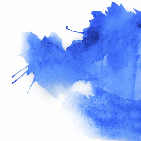 Blue spot, watercolor abstract hand painted background Vectores