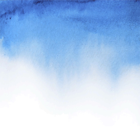 Vector abstract hand drawn watercolor background. Blue watercolor banner template. Painting. Watercolor splash. Vector illustration with empty space for your text. Иллюстрация