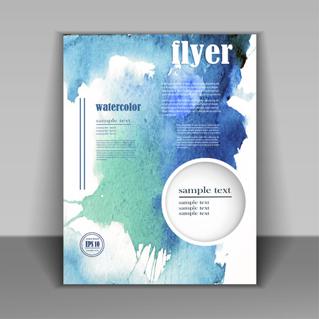 abstract watercolor style brochure design in blue Ilustração