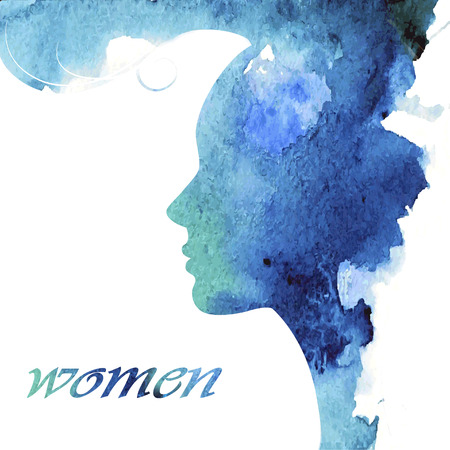 profil: Kobieta czat logo wektor szablon. Sylwetka dziewczyny - kosmetyki, uroda, zdrowie; spa, mody tematy. Twórczy ikony. Ilustracja