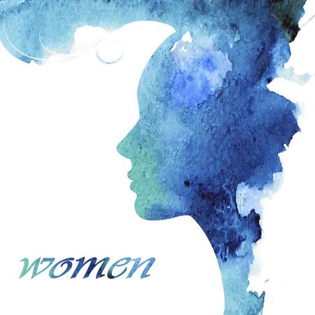 cosmeticos: Mujer de chat logo vector plantilla de dise�o. Silueta de la muchacha - cosm�ticos, belleza, salud; spa, temas de moda. Icono de Creative.