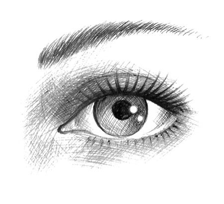 美しい女性の目。