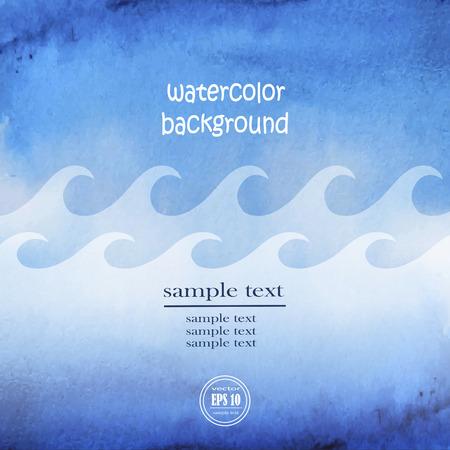 青い波と空と海の海洋水。抽象的な波ブルー水彩背景