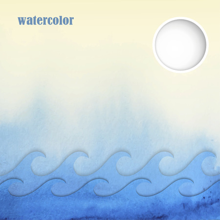 Summer background in watercolor style, vector illustration Illusztráció