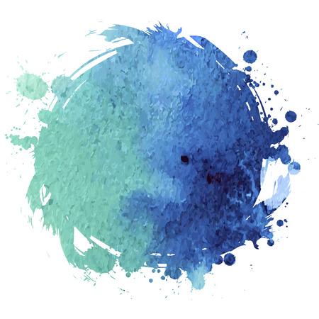 Grunge banner. Grunge watercolor background. Blue watercolor spot. Illustration