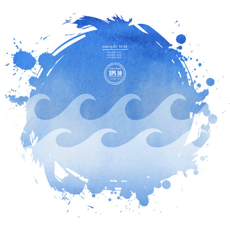 ripple water: Sea vector landscape. Abstract ripple water blue watercolor background Illustration