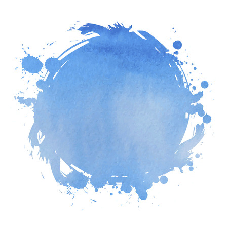 Blue square. Abstract stylish watercolor background. Vector illustration