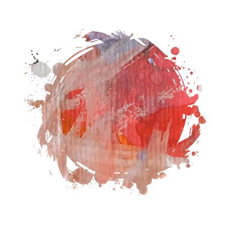 Abstracte artistieke kleurrijke heldere vector aquarel ter plaatse met de hand geschilderde achtergrond. Text template. Grunge lente zomer kleuren. Magenta, oranje en rode tinten. Modetrend schaduw.