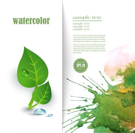 leaf background: Green leaf background, Ecology vector label. Illustration