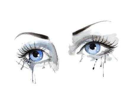 Aquarel oog, vector, uit de vrije hand, mooie vrouwelijke oog met aquarel grunge achtergrond Stock Illustratie