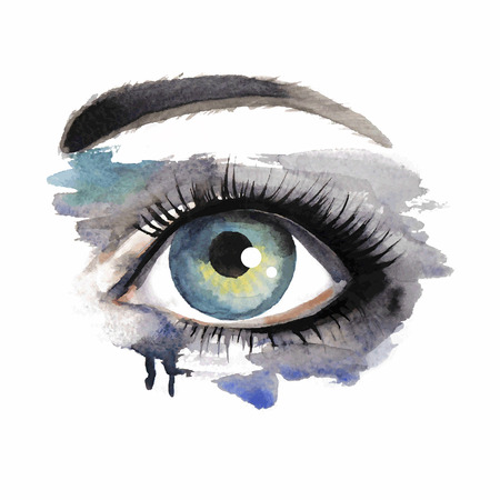 dirty girl: Vector illustration grunge beautiful female eye