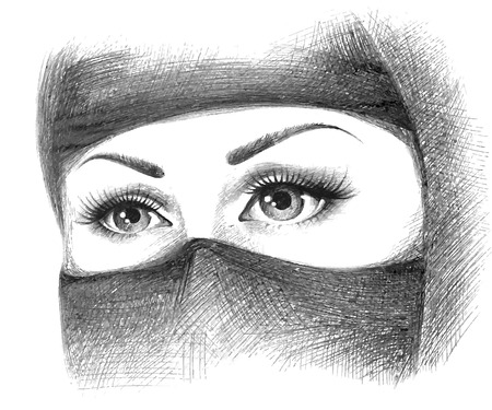 hijab: beautiful face of arabic muslim woman, vector background Illustration