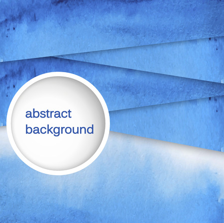 Vector abstract hand drawn watercolor background. Blue watercolor banner template. Painting. Watercolor splash. Vector illustration with empty space for your text. Ilustração
