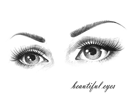 Illustration of woman eyes with long eyelashes. Vectores