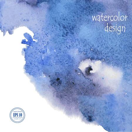 Blue Watercolor Background, Vector Illustration