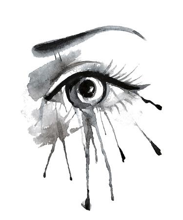 Ilustración del vector del grunge hermoso ojo femenino