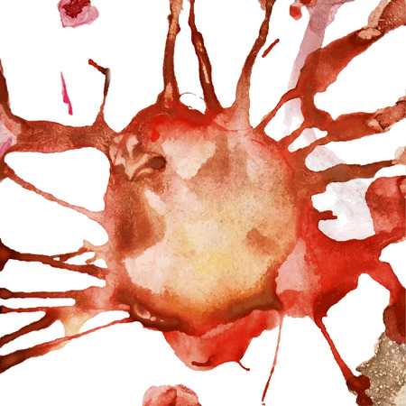 paint drop: Abstract watercolor aquarelle hand drawn drop splatter stain art paint on white background Vector illustration.