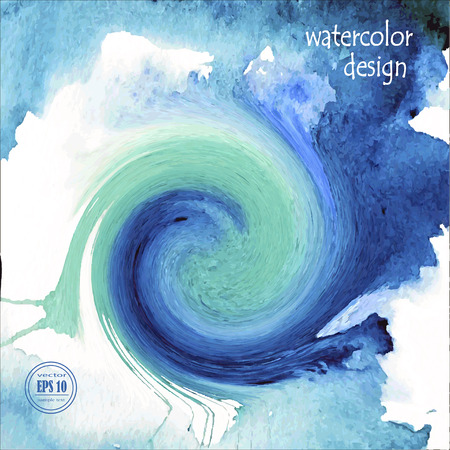 Wedding invitation card with blue watercolor blot on backdrop. Vector illustration.