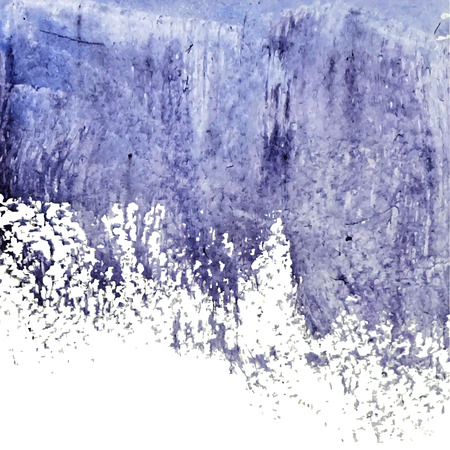 dry brush: Vector watercolor ink spot. Blue wet brushstroke on canvas texture.  Dry brush strokes.  Original watercolor pained on canvas, scanned and traced.