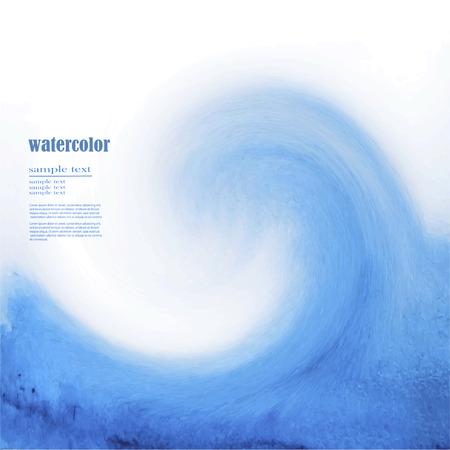 big waves: Watercolor ocean tsunami waves. Big blue water.