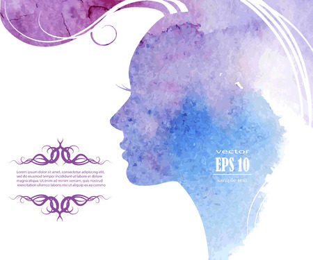 Watercolor Fashion Woman with Long Hair. Vector Illustration. Beautiful Mermaid Face. Girl Silhouette. Cosmetics. Beauty. Health and spa. Fashion themes. Vectores