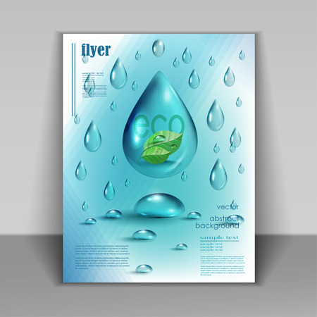 Water drops vector ecology background, leaflet template for your business presentation Banco de Imagens - 41815951