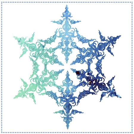 aquarel blauwe sneeuwvlok