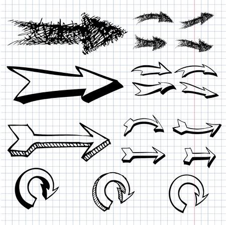 vector set of hand drawn arrows Illusztráció