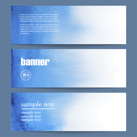 blue light background: Vector Illustration of set of three watercolor banners. Eps10. Illustration
