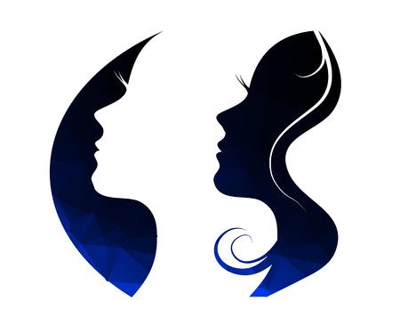 perfil de mujer rostro: Mujer de chat logo vector plantilla de diseño. Silueta de la muchacha - cosméticos, belleza, salud; spa, temas de moda. Icono de Creative.