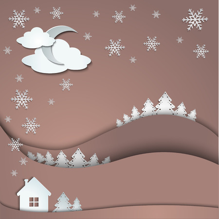 Happy Holidays greeting banner, winter background of snowflakes trees house stickers