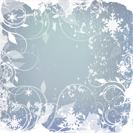snowflake background: Winter background, snowflakes - vector illustration