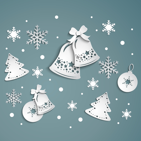 xmas background: gray christmas background with bells and snowflakes simles