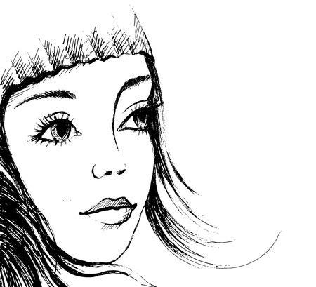 teen girl face: