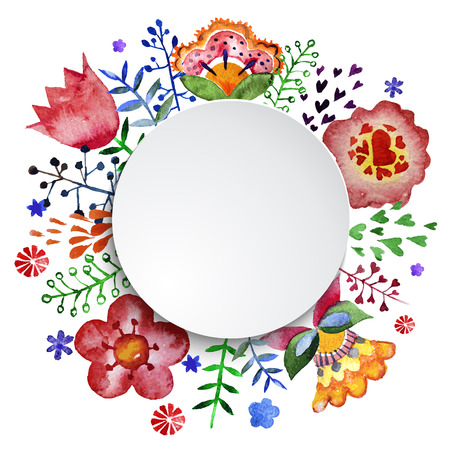 Watercolor floral wreath creator. Set of hand drawn  plants, berries, leaves and flowers for design various combinations. You can create your own compositions using elements. Ilustração