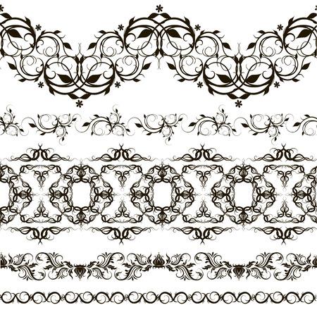 cenefas decorativas: Conjunto de fronteras decorativas estilizado como cordones Vectores