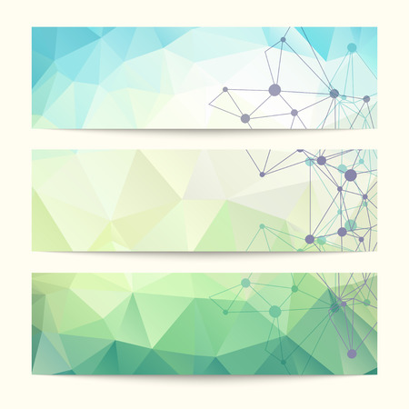 Set of templates for design of banners, covers, posters, web pages in geometric graphic style. Abstract modern polygonal backgrounds. Vector illustration Ilustração