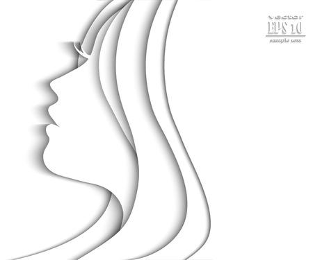 Beautiful female face silhouette in profile.