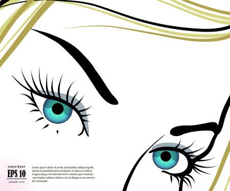 long eyelashes: Illustration of woman eyes with long eyelashes. Illustration