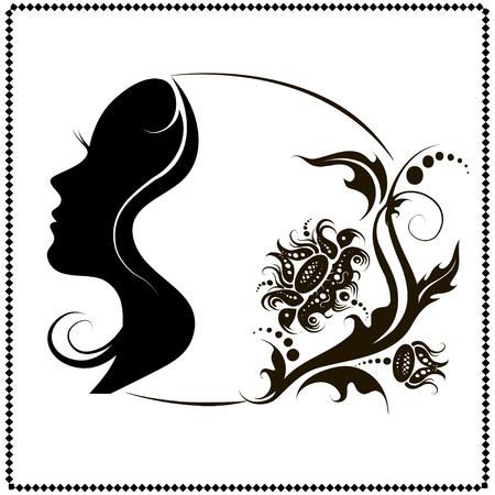 profile silhouette: Beautiful female face silhouette in profile.
