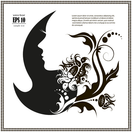 facial hair: Woman profile beauty illustration vector Illustration