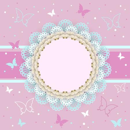 jolie fille: Fond rose avec des papillons sur le châssis