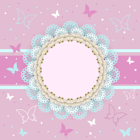 girl party: Pink background with butterflies on the frame