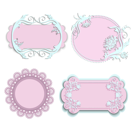 set of pink floral frames with crowns isolated on white background. design elements for little princess, glamour girl and woman. can use for birthday card, wedding invitations. vector illustration.