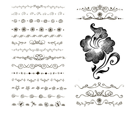 Hand-drawn vector  line border set and design element