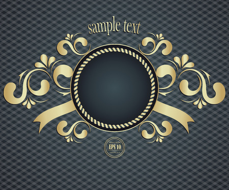 scroll background: Elegant background with golden frame and vintage pattern