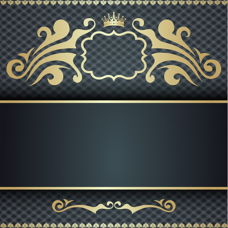 royal background: Royal template with ornate background and golden swirls