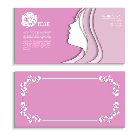 young womens: Silhouette of a woman on a silver background happy Womens Day, flyer booklet with a beautiful young woman with long hair