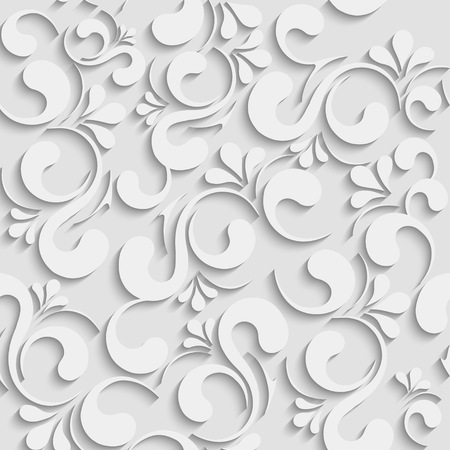 floral decoration: Vector Floral 3d Seamless Pattern Background. For Christmas and Invitation cards decoration