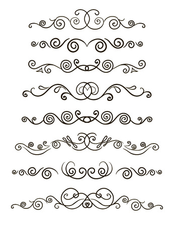 Collection of hand drawn line borders, Set of floral ornaments and waves. Vector illustration.
